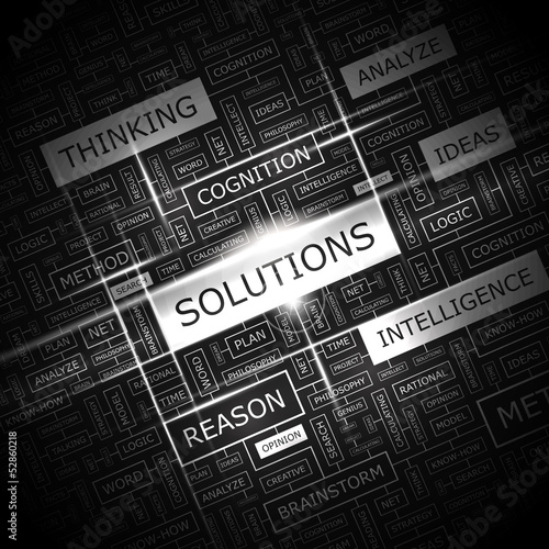 SOLUTIONS. Word cloud concept illustration.