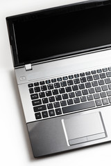 Gray laptop on white background