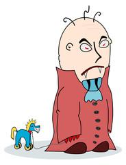 Cartoon vampire with toy horse.