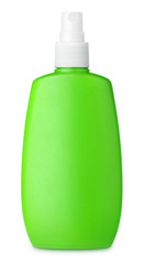 Green spray bottle isolated on white with clipping path
