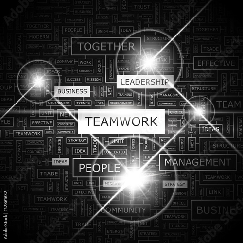 TEAMWORK. Word cloud concept illustration.