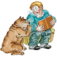 Boy and his Dog crying reading sad book