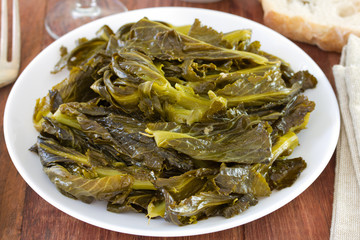 boiled turnip greens on the plate