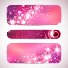 Vector set of three banners with glittering and sparkling stars.