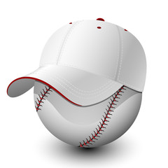 Baseball cap on baseball. Vector illustration