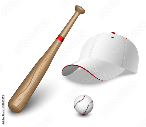 A set of a baseball bat, ball and caps