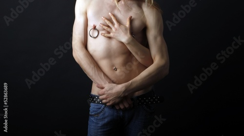 male body with a female hand