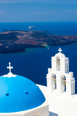 Blue Dome Church Santorini Greece