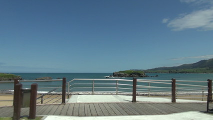 Asturian beach from car