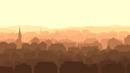 Horizontal illustration of big European city at sunset.