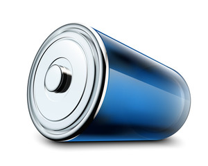 Illustration of glossy battery on white background
