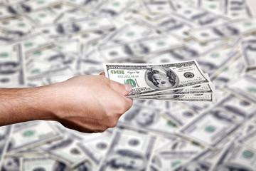 Handing Money over Cash Background