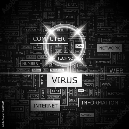 VIRUS. Word cloud concept illustration.
