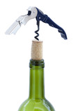 Isolated Cork Screw & Wine Bottle