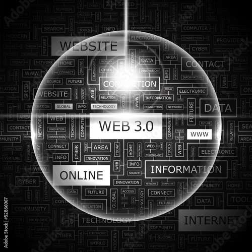 WEB 3 0. Word cloud concept illustration.