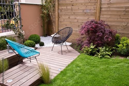 Terrasse et jardin moderne, coin zen - 52866070