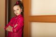 closeup portrait little girl in glam rock style