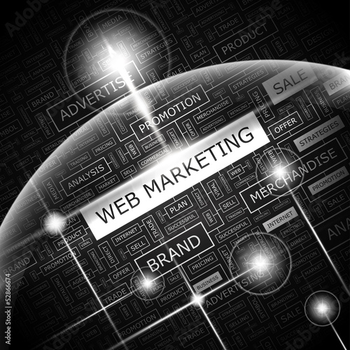WEB MARKETING. Word cloud concept illustration.