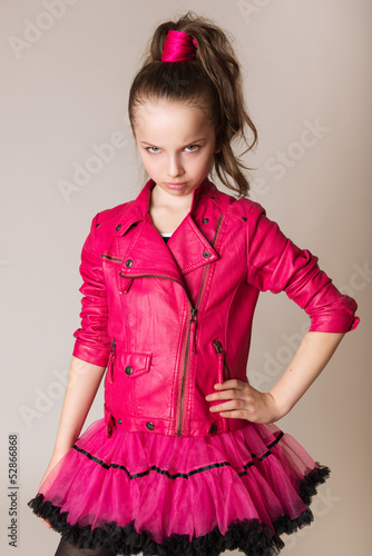 fashion little girl in glam rock style