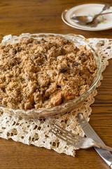 Homemade apple crumb crisp pie and setting