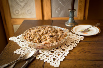 Homemade apple crumb crisp pie and setting