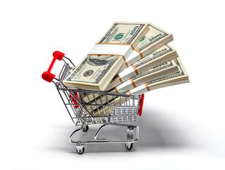 shopping cart full of stacks of dollar bills isolated on white
