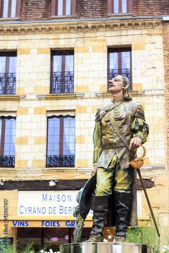 Cyrano de Bergerac statue in Bergerac town, France