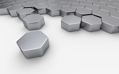 Silber Sechseck Baustein Konzept 4