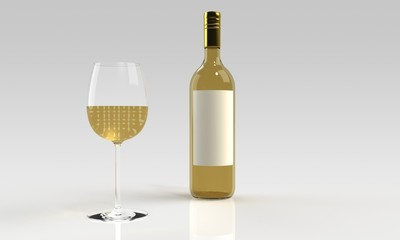white wine and full glass