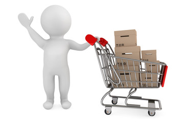 3d person with shopping cart and cargo boxes