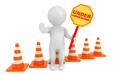 3d person with Under Construction banner and traffic cones