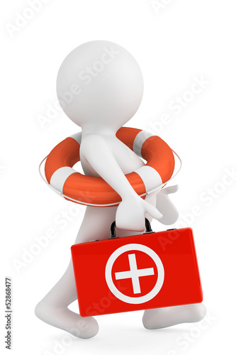 3d person with lifebuoy ring and first aid box