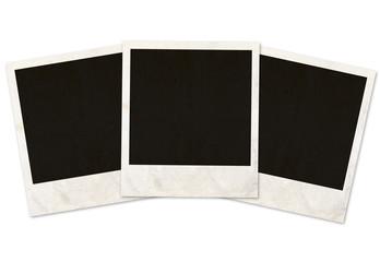 three photo frames on white background