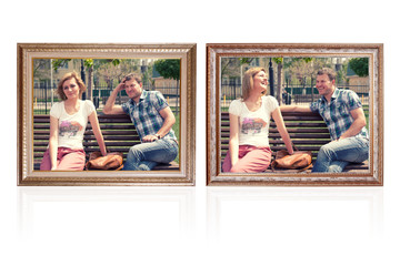 two photo frames with young couple