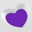 3D Herz Flyer Quadratisch - Weiß Violett