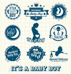 Vector Set: Retro It's A Baby Boy Labels