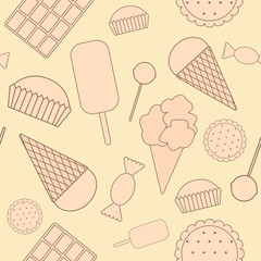 Seamless pattern: sweets. Chocolate, candy, ice cream, cake, coo