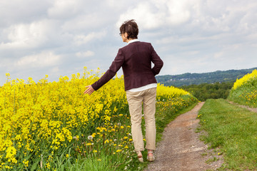 Woman on rape field