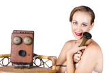 Woman with antique telephone
