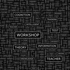WORKSHOP. Word cloud concept illustration.