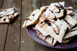 thin crispy cookies with chocolate sauce