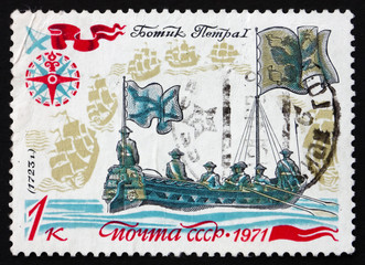 Postage stamp Russia 1971 Peter I Reviewing Fleet, 1723