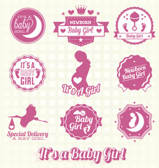Vector Set: It's A Baby Girl Labels and Icons