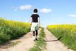 Woman walks alone in nature walk