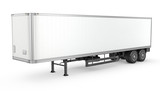 Blank white parked semi trailer