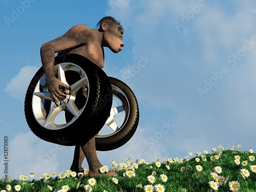 Primitive man with wheels.