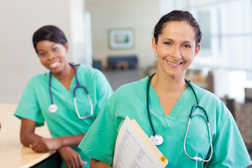 Nurses at work station
