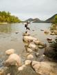 Man jumping on rocks