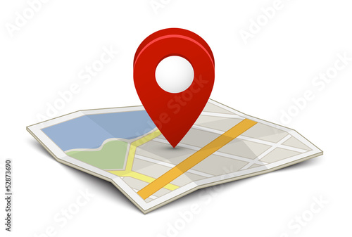 Map with a pin - 52873690