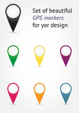 Set of beautiful vector GPS markers for your design